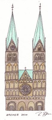 Der Bremer Dom am Marktplatz, gemalt von Rebecca Breu, www.rbreu.de